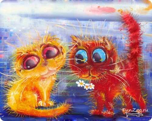 Ухаживание красного котика