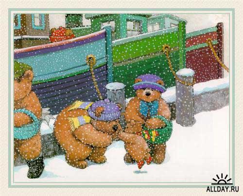 """Автор схемы  """"Семья мишек """".  Размеры: 190 x 153 крестов.  0. оригинал.  Картинки. avevstigneeva."""